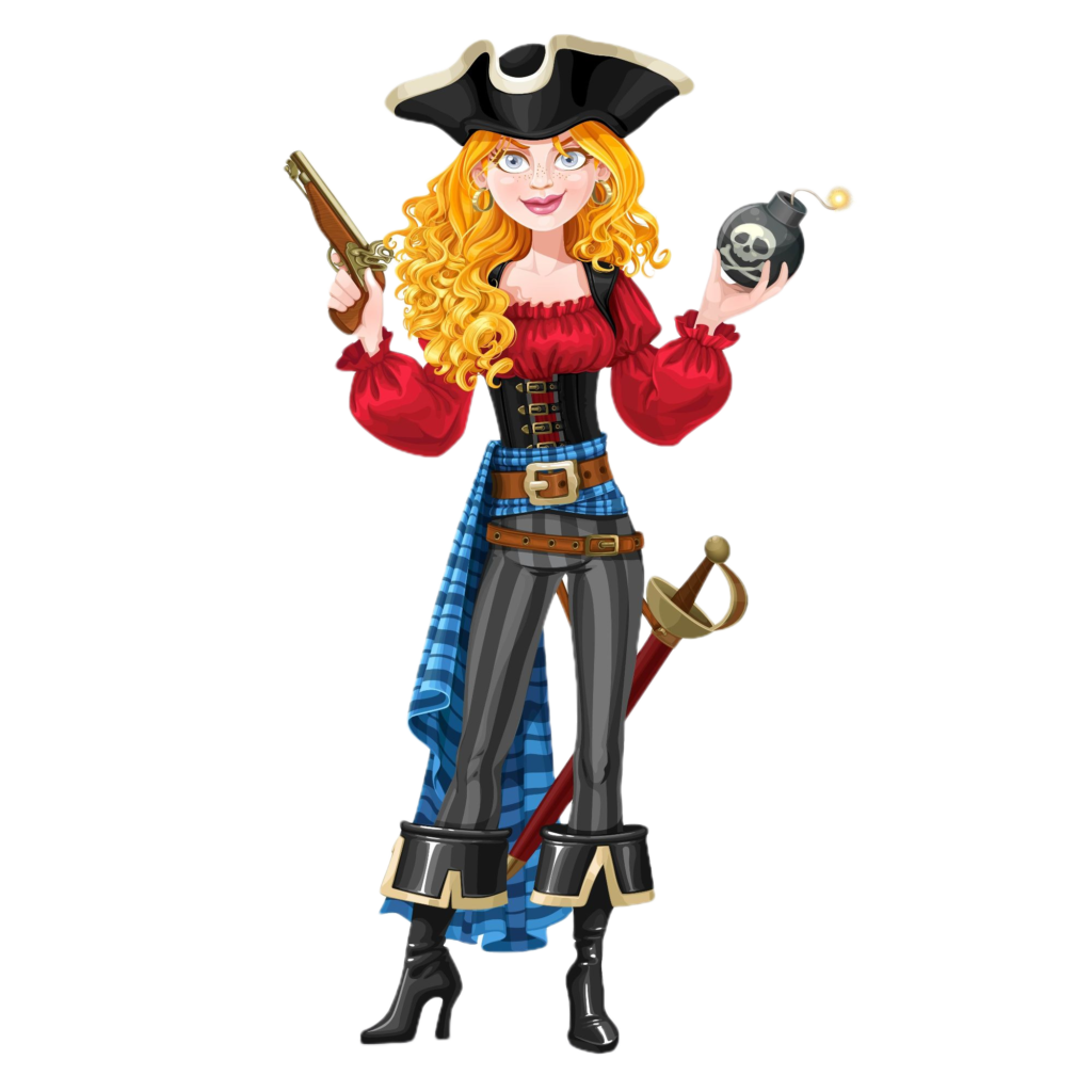 Femme pirate, attraction l'île perdue du parc Fantassia